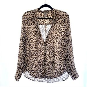 H&M leopard polyester blouse